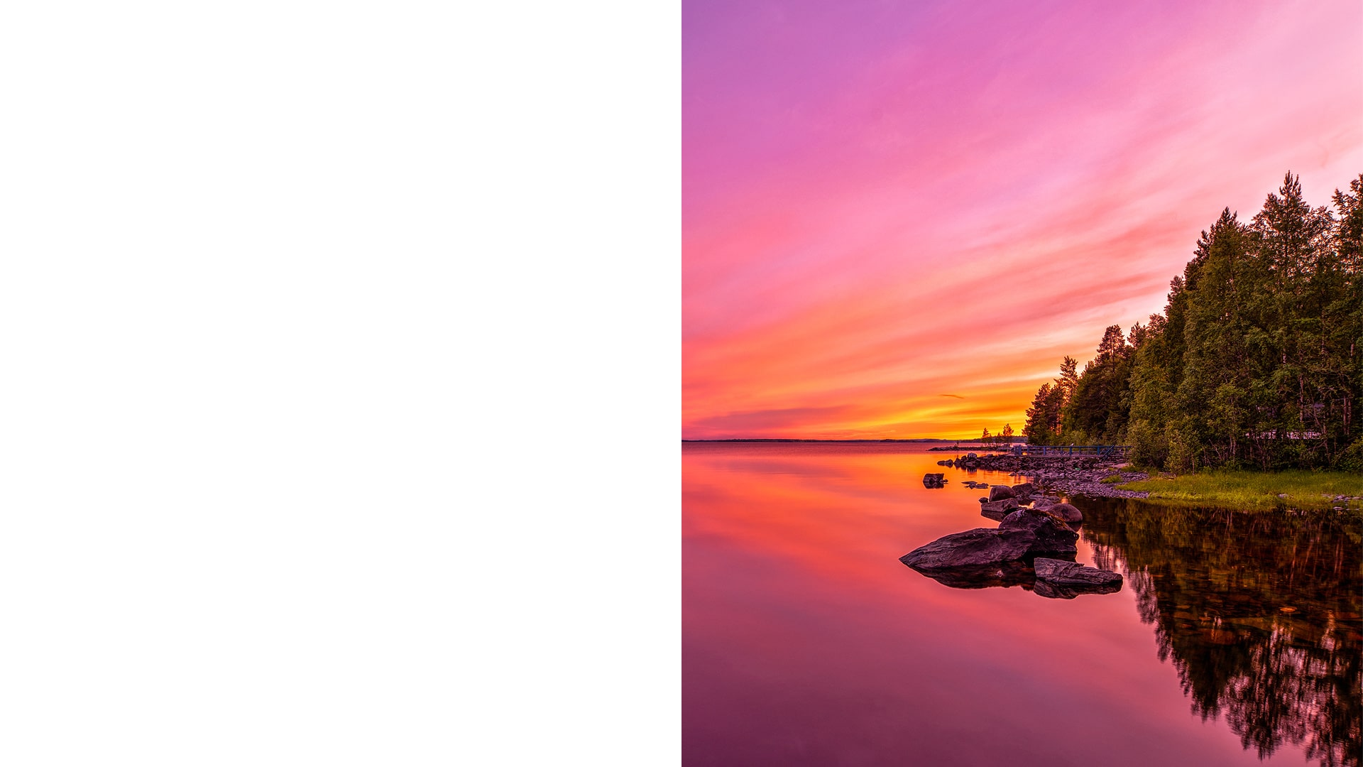 Auringonlasku Kainuun järvimaisemassa